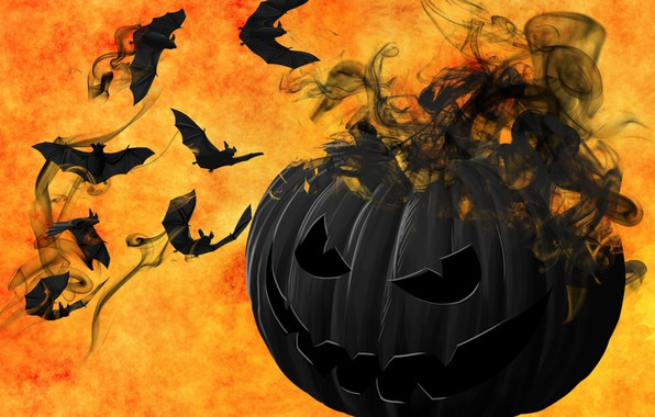 Picture mystic, pumpkin, Halloween, bats, 31 Oct