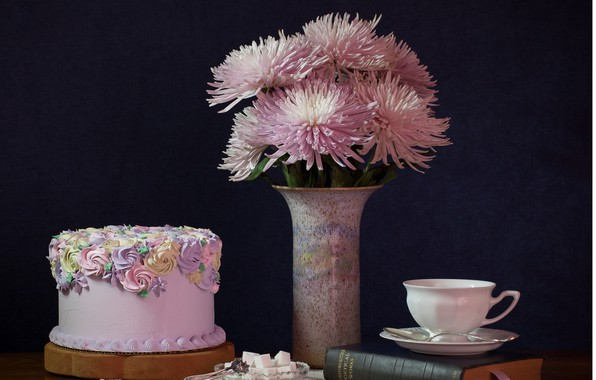 Photo wallpaper flowers, holiday, bouquet, cake, dahlias