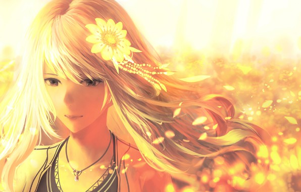 Picture summer, face, the wind, petals, girl, suspension, flower in hair, Golden hair, by Bounin
