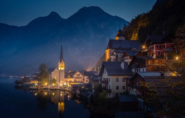 Picture mountains, night, lake, tower, home, Austria, town, Hallstatt, Hallstatt, community