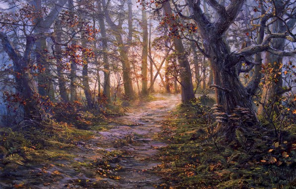 Picture autumn, forest, trees, figure, trail, picture, art, painting