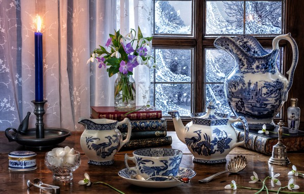 Picture flowers, style, books, candle, kettle, window, snowdrops, mug, Cup, sugar, pitcher, a bunch, set