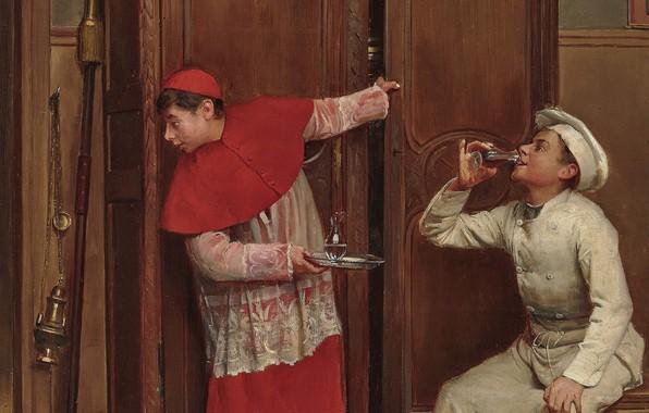 Picture 1893, French painter, French painter, oil on canvas, A Secret Tasting, Paul Chocarne-Moreau, Secret tasting, …