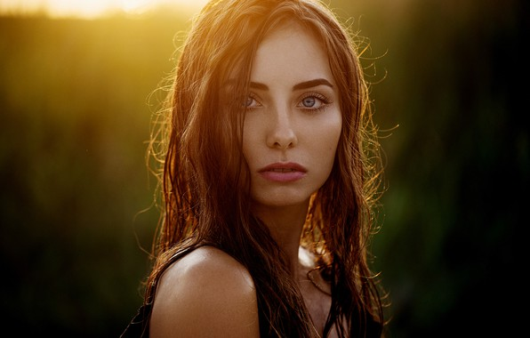 Picture girl, long hair, photo, sunset, photographer, blue eyes, model, lips, face, brunette, Natasha, portrait, profile, …