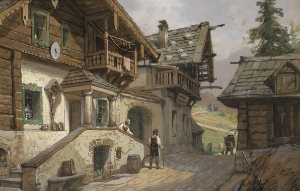 Picture 1935, Georg Janny, George Gianni, Austrian painter, Village street in the Alps, Village road in …