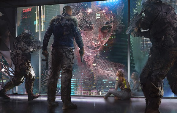 Picture Girl, Soldiers, Art, Art, Fiction, Concept Art, Characters, Hologram, Cyberpunk, Synth, Klaus Wittmann, by Klaus …
