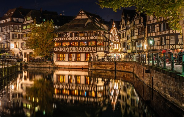 Picture reflection, France, building, home, channel, night city, promenade, Strasbourg, France, Strasbourg, The Petite France Quarter, …