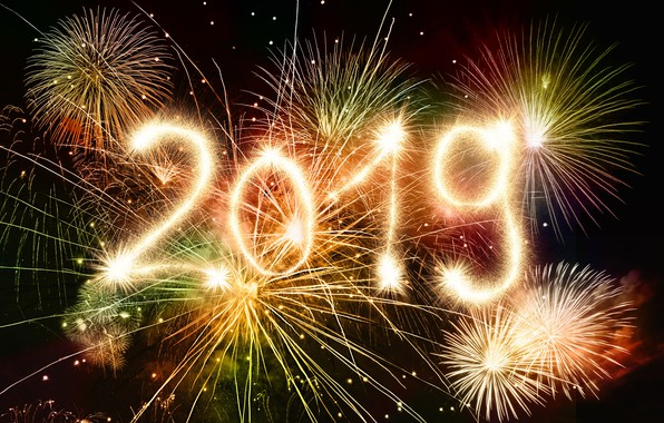Picture holiday, New Year, fireworks, 2019