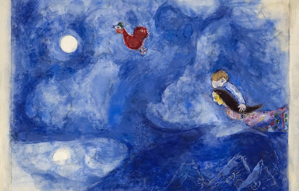 Picture Marc Chagall, Marc Chagall, MARC CHAGALL, decor for Aleko, Aleko, Aleko and Zemphira by Moonlight, …