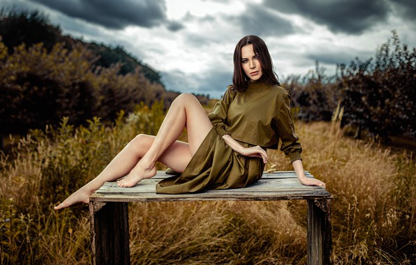 Picture grass, look, clouds, nature, sexy, pose, model, portrait, barefoot, makeup, dress, hairstyle, brown hair, legs, …