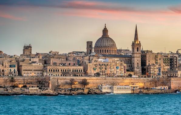 Picture sea, building, the evening, Malta, Valletta