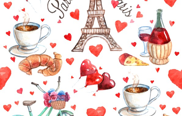 Picture white, background, texture, hearts, Watercolor