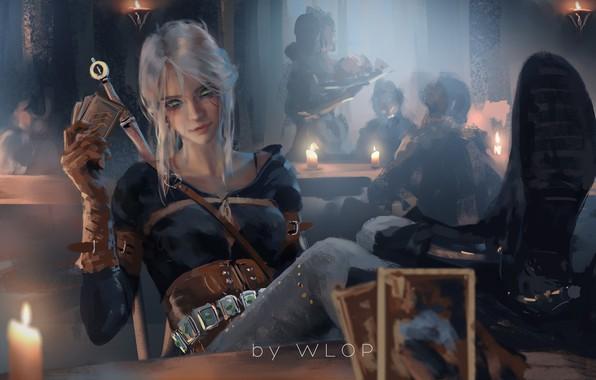 Picture girl, sword, fantasy, game, green eyes, weapon, digital art, artwork, table, warrior, candle, fantasy art, …