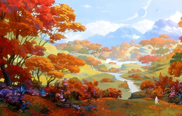Picture fantasy, forest, river, sky, trees, landscape, nature, clouds, planets, Mountains, digital art, artwork, concept art, …