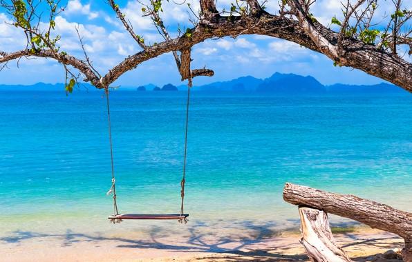 Picture sand, sea, wave, beach, summer, swing, summer, beach, sea, seascape, sand, wave