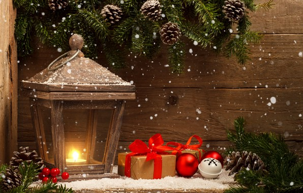Picture snow, decoration, balls, New Year, Christmas, lantern, gifts, Christmas, balls, wood, snow, New Year, gift, …