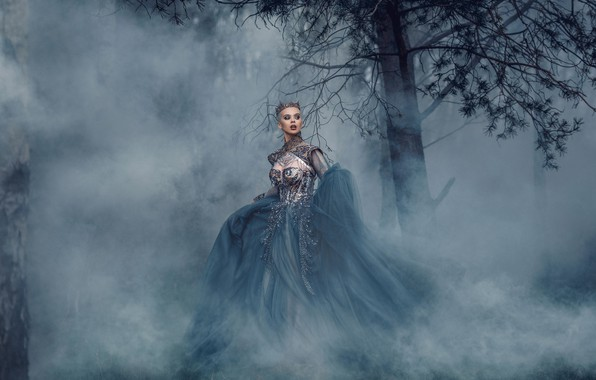 Picture girl, fog, tree, dress, Queen, Bird Man, Rachel Perera