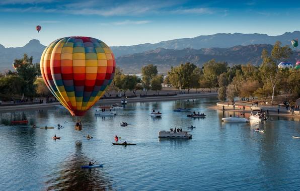 Picture landscape, mountains, lake, balloons, boats, AZ, USA, festival, Lake Havasu City, Lake Havasu City