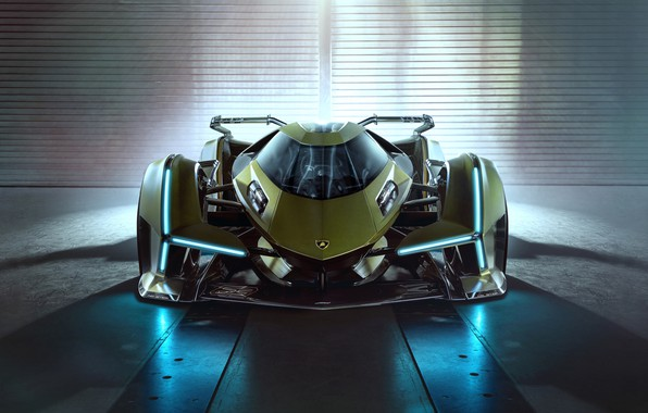 Picture Lamborghini, Lights, The concept car, Lambo, V12, Icon, Vision Gran Turismo, 2019, Lambo V12 Vision