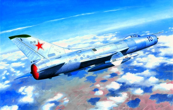 Picture Supersonic, fighter-interceptor, THE SOVIET AIR FORCE, Fishpot-C, Su-11