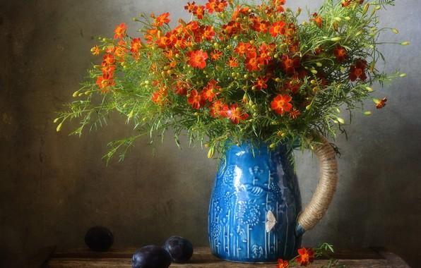 Picture flowers, the dark background, bouquet, vase, pitcher, still life, plum, composition, marigolds