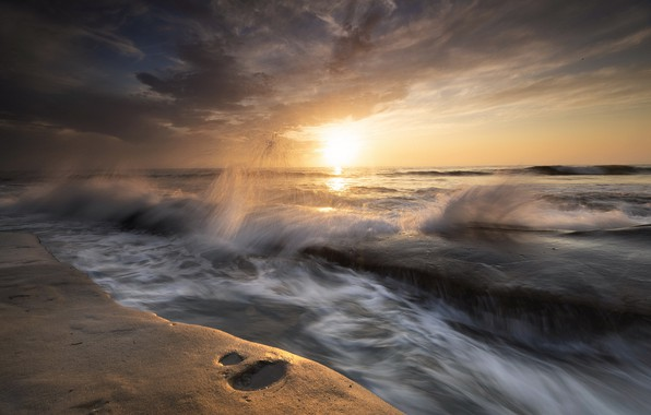 Picture sea, wave, sunset, shore