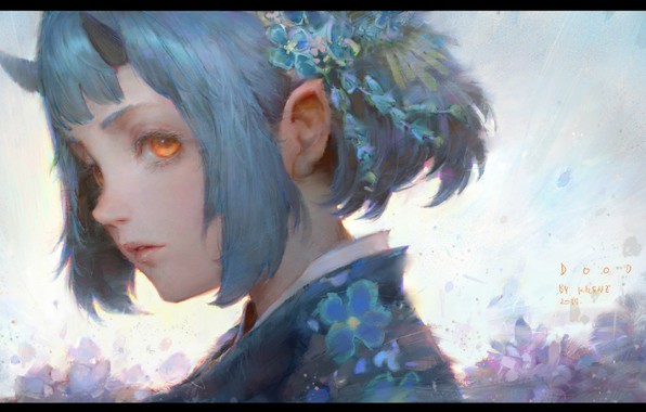 Picture girl, kimono, ears, blue hair, horns, forget-me-nots, yellow eyes, violet, flower in hair, in profile, …