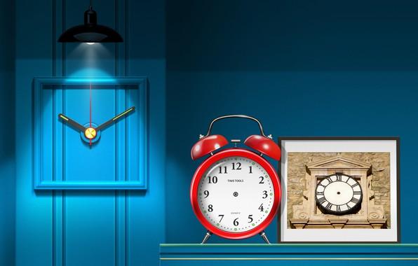 Picture creative wallpaper, interior, clock, lighting, lighting effects, my works, no hands