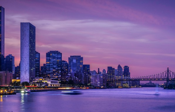 Picture bridge, Strait, building, New York, night city, skyscrapers, New York City, East River, East River