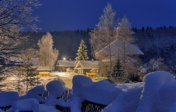 Picture winter, road, forest, snow, trees, landscape, nature, the fence, home, morning, village, lighting, Sergei Garmashov
