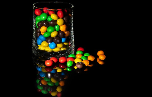 Picture dark, glass, reflection, Colors, Sweet food, chocolate lentils