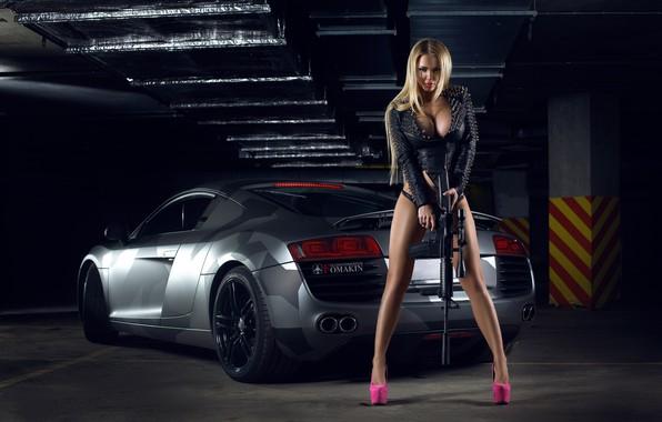 Picture machine, auto, girl, pose, weapons, feet, rifle, Katya Sambuca, Igor Lomakin