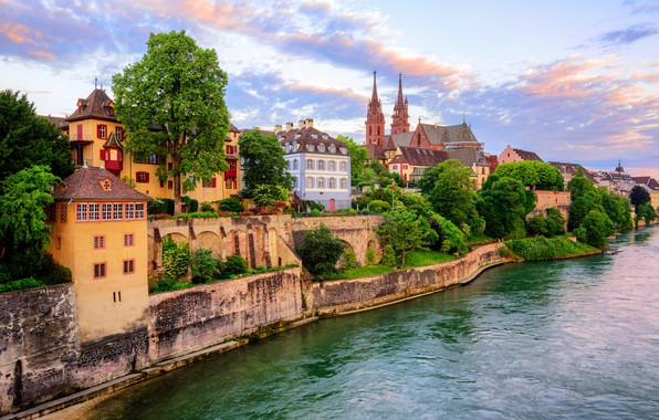 Picture river, building, Switzerland, Basel