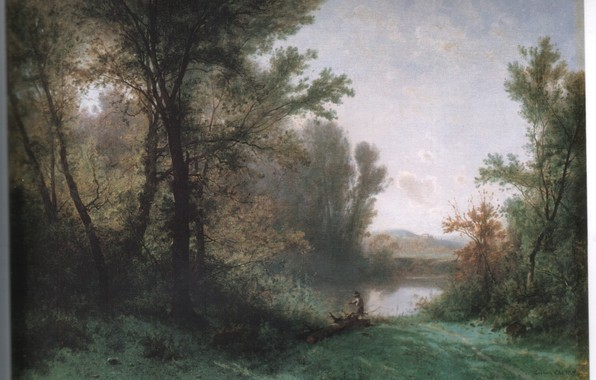 Picture lake, log, CASTAN, boy fishing, FISHERMAN ON THE RIVER BANK