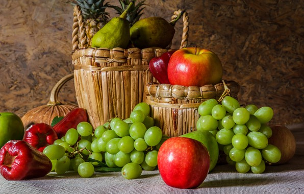 Picture apples, grapes, fruit, still life, pear, flowers, autumn, fruit, grapes, still life