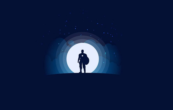 Picture moon, minimalism, clouds, stars, Marvel, Captain America, blue background, digital art, artwork, superhero, shield, silhouette, …
