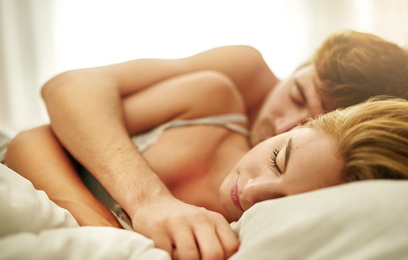 Picture woman, man, hug, couple, bed