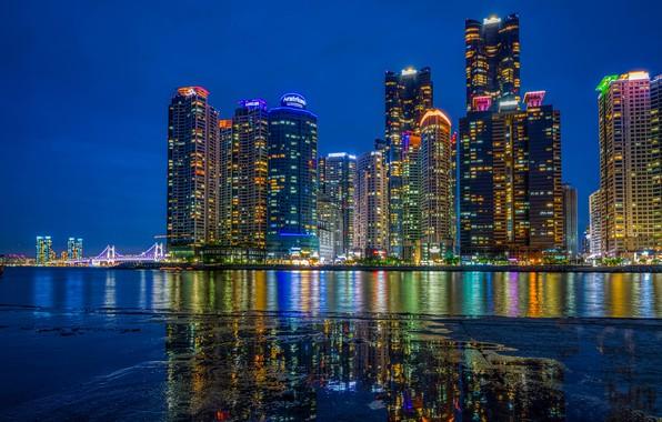 Picture building, home, night city, skyscrapers, South Korea, South Korea, Busan, The Republic Of Korea, Busan, …