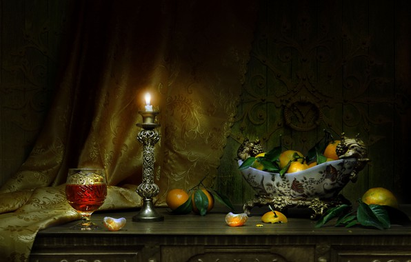 Picture photo, candle, vase, still life, tangerines