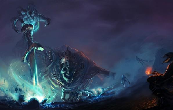 Picture dark, fire, sword, fantasy, magic, weapon, skulls, crown, artwork, fantasy art, king, creature, Skeletons