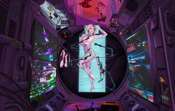 Picture Girl, Future, Room, Art, Art, The view from the top, Fiction, Cyborg, Illustration, Concept Art, …