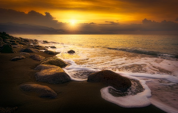 Picture sand, sea, wave, beach, the sky, foam, the sun, clouds, rays, landscape, sunset, yellow, clouds, …