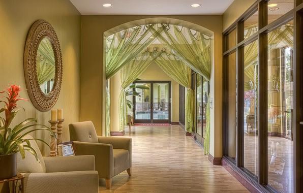 Picture flower, interior, door, mirror, corridor, chairs, pot, the hotel
