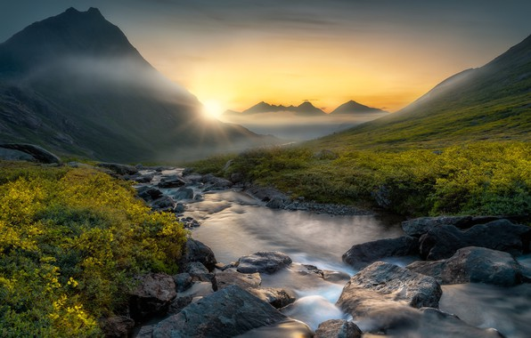 Picture mountains, stream, sunrise, dawn, valley, Norway, river, Norway, Romsdalen Valley, Valley Of Romsdalen