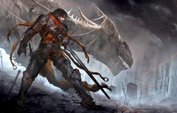 Picture dark, sword, fantasy, magic, soldier, armor, weapon, Warrior, dragon, castle, digital art, artwork, fantasy art, …
