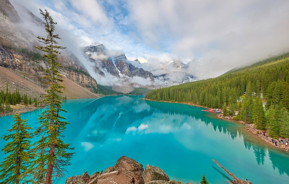 Picture the sky, rock, lake, photo, alberta