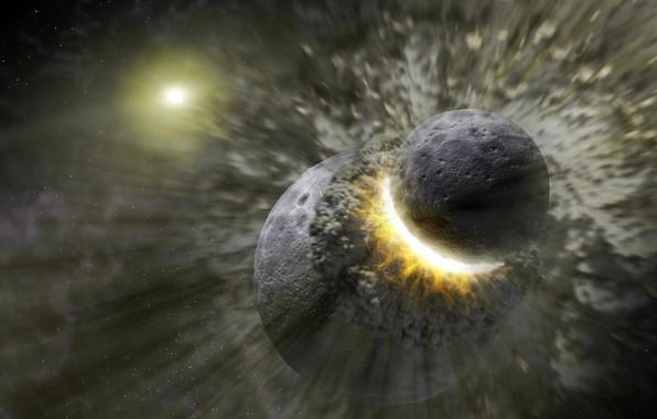 Picture planet, disaster, blow, destruction, clash