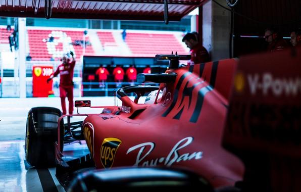 Picture car, Ferrari, sport, box, Formula 1, tyres, men, Sebastian Vettel, SF90, Ferrari SF90