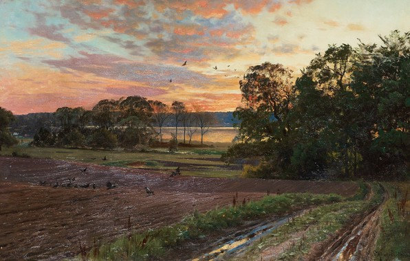 Picture 1893, Danish painter, Peter Merk Of Menstad, Peder Mørk Mønsted, Danish realist painter, Landscape with …