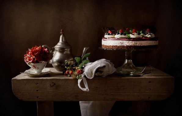 Picture flower, style, berries, Cup, cake, still life